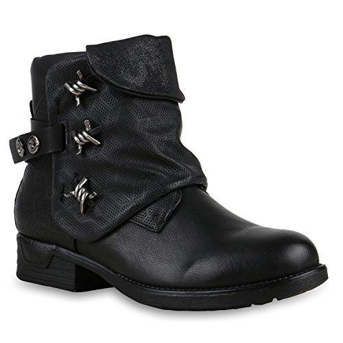 Derbe Damen Schuhe Biker Boots Stiefeletten Stiefel Metallic 125643 Schwarz Brooklyn 39 Flandell Metallic-leder-boot