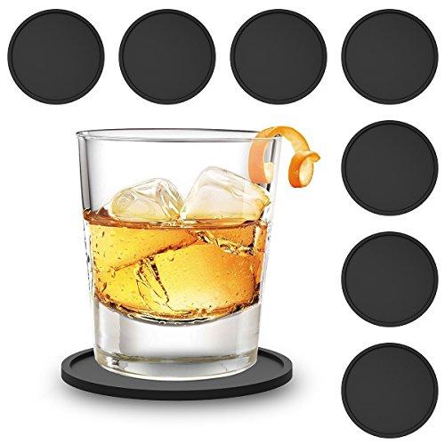 zedtom Lot de 8 dessous-de-verre Sous-verre ronds en silicone Verre en silicone, Tasse avec soucoupe pour kit de Famille, bar, salon, cuisine 5 Couleur (Noir)