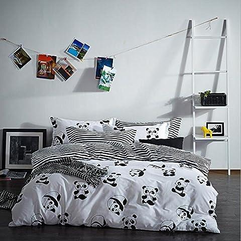 Parure de lit coton 4 sets de housses de couettes 220x240cm + drap de lit + taie d'oreiller le dessin des pandas impression double face