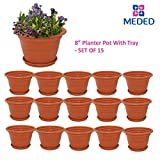 #9: Meded Siti Plast 8 inch Heavy Duty Plastic Planter Pots With Bottom Tray (Pack of 15) Colour - Terracotta