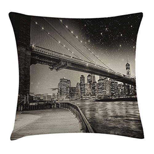 (New York Throw Pillow Cushion Cover, Summer Night in Manhattan Brooklyn Bridge Park River Waterfront Modern City, Decorative Square Accent Pillow Case, 18 X 18 inches, Dark Sepia Black)