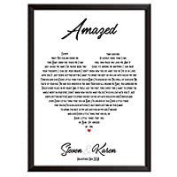 PERSONALISED Song Lyrics Wall Art Print - ANY SONG - HEART - Gift idea for wedding, first dance, anniversary, birthday, Christmas. Couples, husband, wife. Framed poster/picture only. A2, A3, A4, A5