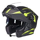 MERRYHE Casco Moto Flip-Up Modulare Da Fuoristrada Unisex Per Motociclisti Casco Integrale Moto BMX Con Due Specifiche,Green/Bluetooth-L(58-59cm)