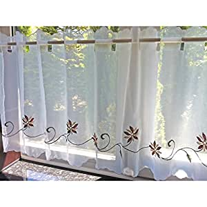 just contempo gardine vorhang gebrauchsfertig bestickt f r die k che polyester. Black Bedroom Furniture Sets. Home Design Ideas