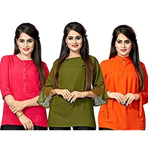 1 Stop Fashion Women's Crepe Ready Wear Dyed Heavy Solid Top – Combo of 3