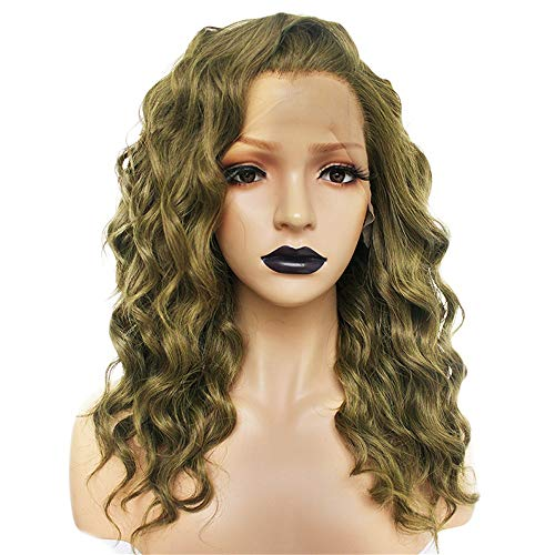 Homme Kostüm Noir - ZYC Orange hochtemperaturfaser 360 frontal Lange Tiefe Welle Haar perücken synthetische spitzefrontseite perücke für Frauen kostenlos Teil,Grün