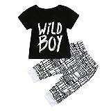Oyedens Ensemble Bebe Garçon Ete, Vetements Enfants Chemise à Manches Courtes T-Shirt Tops Wild Boy Estampes Et Pantalons 6 Mois à 3 Ans (Noir, 18-24 Mois)
