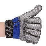 Antitaglio Guanti Acciaio inossidabile Maglia Guanto per cucina macellai (L, blu)
