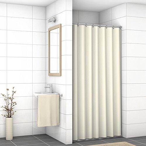 WIDORO Textil-Duschvorhang   alle Größen verfügbar   wasserdichter Stoff   Anti-Schimmel & Anti-Bakteriell   waschbar   Polyester   inkl. Ringe   120 x 200 cm (BxH) BEIGE mit verstärktem Saum