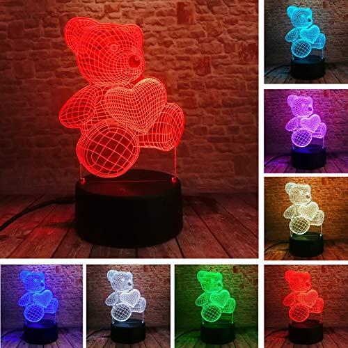 Nndxh Top Cadeau De Noël Usb Petit Ours En Forme De Coeur Mignon 3D Atmosphère Lumière Fille Bébé Chambre Led Tactile Illusion Veilleuse, Cadeau Nouveau