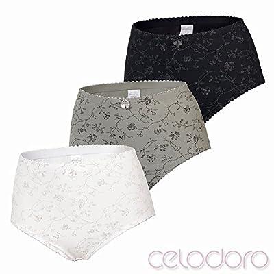 Celodoro Damen Taillen-Slip weiche sehr elastische Microfaser Slips mit Blumen-Muster - 6er Pack weiß Silber grau schwarz Mix from Celodoro