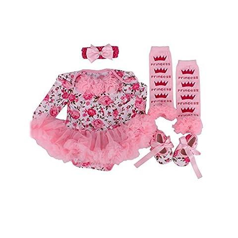 Neue Sommer-nette Punkt Neugeborenes Kind-Baby-Kleidung-Klage-Stirnband + Spielanzug-Kleid + Schuhe Kinder