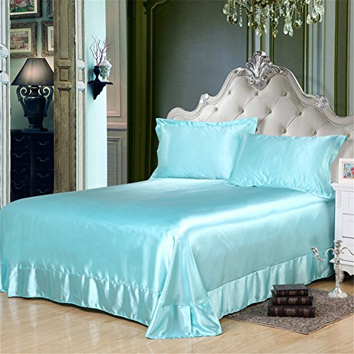 König Bettbezug Bettwäsche-set (Generic Glanz Satin Bettbezug Bettwäsche Set 4-teilig in 3 Größen 13 Farben (220cmX240cm, Blau))