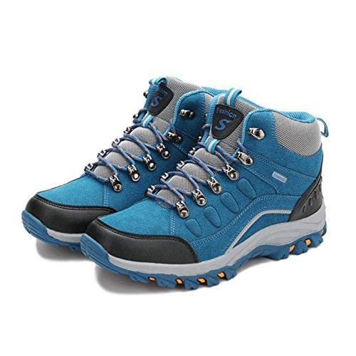 Unisex Erwachsene im Freien Querfeldein Mesh Kurzschaft Laufen Schnürsenkel Sport Turnschuhe Kletternschuhe Wanderstiefeln Blau
