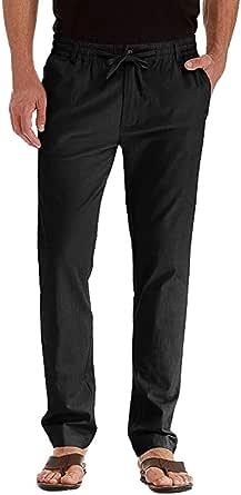 Zerototens Mens Casual Linen Cotton Trousers Elasticated Waist Drawstrings Pants Lightweight Breathable Yoga Gym Summer Pants Straight Leg Comfortable Athletic Pants