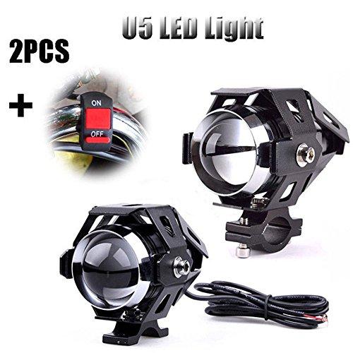 2unidades de faros para motos de 125W Alftek U5, antiniebla, lámpara +...