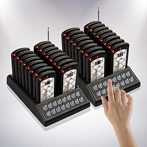 Nolas 32restaurante Call Posavasos Apoyo/invitados espera mensáfono/sistema de Paginación inalámbrico con base de carga y transmisor (también disponible en (48unidades)