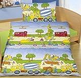 Aminata Kids Kinder-Bettwäsche 100-x-135 cm Bagger BAU-Fahrzeuge Auto-s Betonmischer Baby-Bettwäsche 100-% Baumwolle Renforce alt-rosa dunkel-blau Schloss Junge-n Test