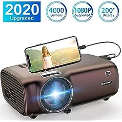 Projecteur Excelvan Mini Projecteur Portable 4000 Lumens Full HD 1080P/USB/VGA/SD/HDMI/AV Résolution 1920*1080 Display 200'' pour Maison et Voyage Compatible avec PS4 TV Box PC Téléphone Portable