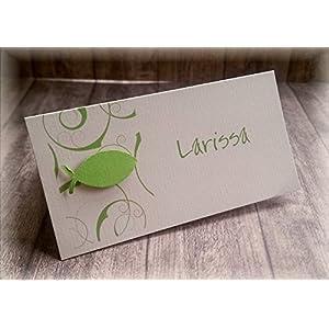 Tischkarte Namenskarte Kommunion Konfirmation Firmung Taufe Fisch apfelgrün grün hellgrün kiwi