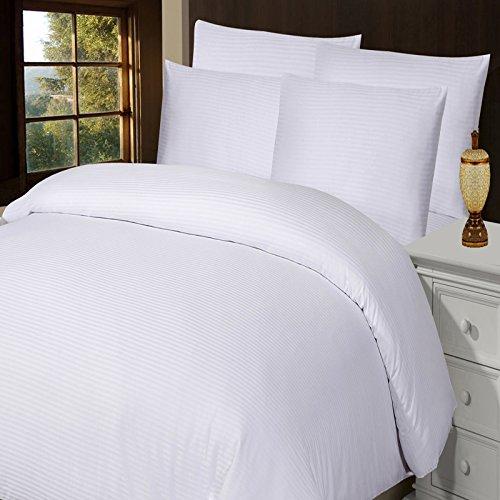 Fadenzahl 300 Baumwoll-satin Bettwäsche (Luxuriöse Weiche Hotel Qualität 100% gekämmte Baumwolle t-300Satin Streifen Bettbezug-Set, weiß, baumwolle, weiß, Double (200x200cm))