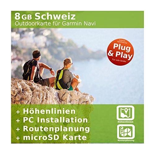8GB Svizzera Topo scheda-per Garmin Colorado 300, Dakota
