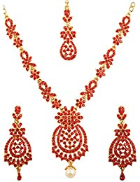 Touchstone Indian Bollywood Floral Inspired Red Rhinestones Designer Bridal Jewelry Necklace Set In Antique Gold...