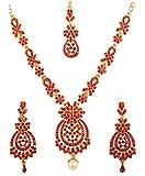 Touchstone Set di collana di gioielli da sposa firmati rhines s di ispirazione floreale bollywood rossa per donna Rosso