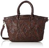 Taschendieb Damen TD056db, Henkeltasche, Braun (dunkelbraun), 47x30x13 cm
