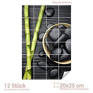 Graz Design 761558_20x25_60 Fliesenaufkleber Bambus/Massagesteine   Bad-Fliesen mit Fliesenbildern überkleben (Fliesenmaß: 20x25cm (BxH)//Bild: 60x90cm (BxH))