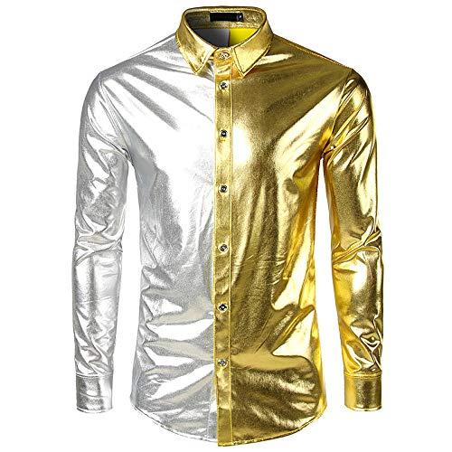 Hemd Mode Kontrastfarbe Metallic Glänzend Langarmshirt Bügelfreie Glitzer Slim Fit Umlegekragen Knöpfen Hemden Kostüm für Nightclub Party Tanzen Disco Halloween Cosplay ()