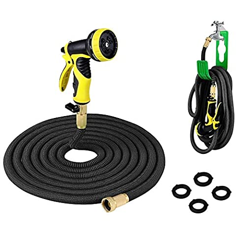 PLUSINNO® Expandable Garden Water Hose FULL SET, Heavy Duty Flexible Natural Latex Hose Pipe with Shut Off Valve Solid Brass Connector, Hose Hanger and 9-pattern Spray Nozzle