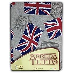 tex family Telo ARREDO COPRITUTTO Gran Foulard COPRILETTO COPRIDIVANO Tessuto Bandiera Inglese Londra - 2 PIAZZE