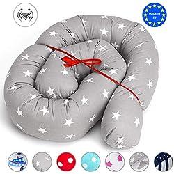 Tour de lit bebe Coussin Serpent Bébé - contour de lit, pour fille et les garçon, coussin respirant 100% coton Gris 150 cm