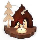Dekohelden24 Wunderschöne handgeschnitzte Holz Krippe, Heilige Familie, mit Teelichthalter, ca. 9 cm