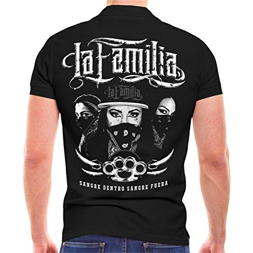 Männer und Herren POLO Shirt La Familia SANGRE (mit Rückendruck) Schwarz