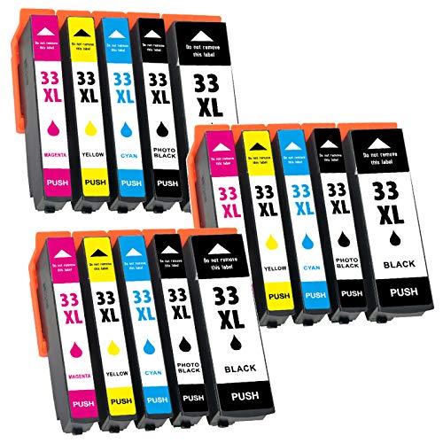 Jagute 33XL Cartucce Sostituzione per Epson 33XL 33 XL Cartucce d'inchiostro Compatibile con Epson Expression Premium XP 540 XP-530 XP-645 XP-830 XP-635 XP-640 Confezione da 15