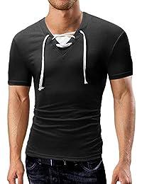 OHQ Camisa De Hombre Camiseta Manga Corta con Manga Corta Y Color LISO para Hombre Camiseta