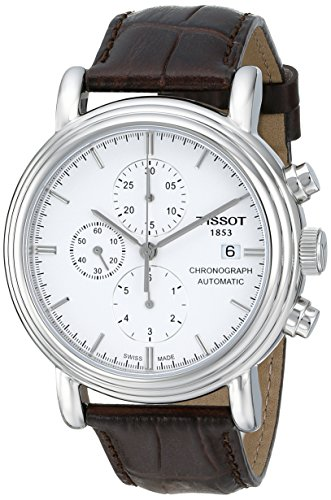 Tissot-T0684271601100-Reloj-crongrafo-de-caballero-automtico-con-correa-de-piel-marrn
