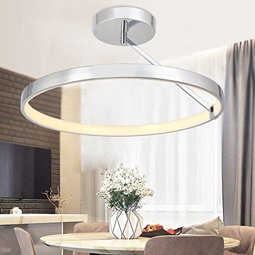 N3 Lighting Moderne Design LED Deckenleuchte Wohnzimmerlampe Esszimmer, Deckenlampe, Esstischleuchte, Dimmbar, Esszimmerlampe, Metall Warmweiß, 50W, Chrome, Ø60 x 31cm