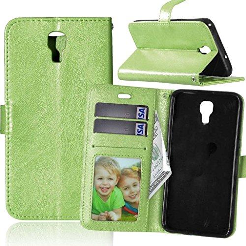 Fubaoda LG X Screen Hülle, [Kostenlos Syncwire Ladekabel] Flip Leder Money Karte Slot Brieftasche, Klassiker, Ständer, Handyhülle Ledertasche Phone Tasche Hülle für LG X Screen (K500N) (grün)