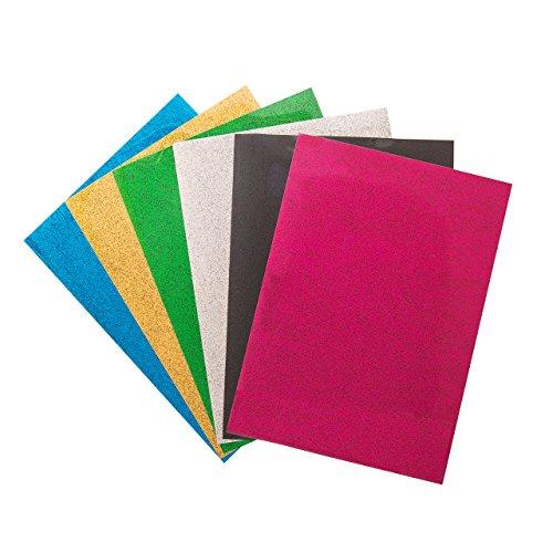 extilfolien Transferpapier Transferfolie Vinylfolien für farbige Textilien A4 Size 6 Blatt Schwarz Rosa Blau Grün Gelb Weiß (Halloween-kostüme Tragen, Um Zu Arbeiten)