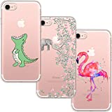[3 Stück] iPhone 7 Hülle, iPhone 8 Hülle, Blossom01 Cute Funny Kreative Cartoon Transparent Silikon Bumper für iPhone 7 / 8 - Krokodil & Elefant Blumen & Flamingo
