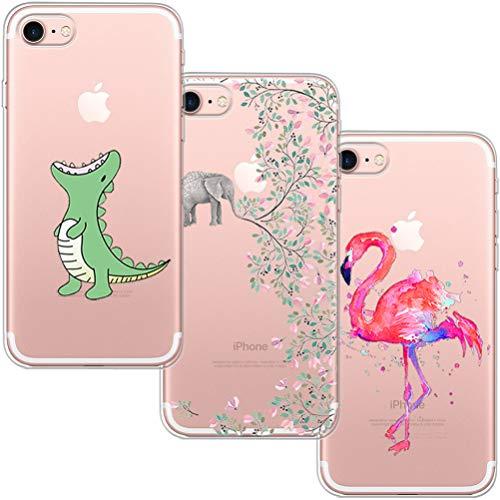 [3 Pack] Funda iPhone 7, Funda iPhone 8, Blossom01 Funda Ultra Suave Silicona TPU Funda de Silicona con Dibujos Animados Para iPhone 7 / 8 - Cocodrilo & Elefante Flores & Flamingo