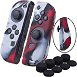 YoRHa Hand grip Silicone Cover Skin Case x 2 for Nintendo Switch/NS/NX Joy-Con controller (camouflage red) With Joy-Con thumb grips x 8