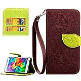 SCSY-case Modetelefonkasten Leaf Magnetic Snap Litchi Textur Horizontale Flip Leder Tasche mit Card Slots & Halter & Wallet & Lanyard für Samsung Galaxy Grand Prime / G530H (Farbe : Braun)
