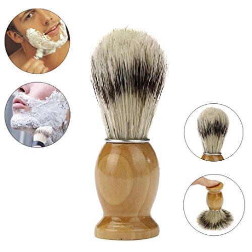Yogogo Meilleurs Blaireau Rasage Brosse à Cheveux Hommes Pro Raser Barber Salon Bois Gérer Poils de Blaireau Jaune A