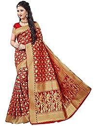 Indian Fashionista Women's Kanjivaram Silk Butta Saree with Blouse Piece, Free Size (ALK-KANJIVARAMSILK-RED)