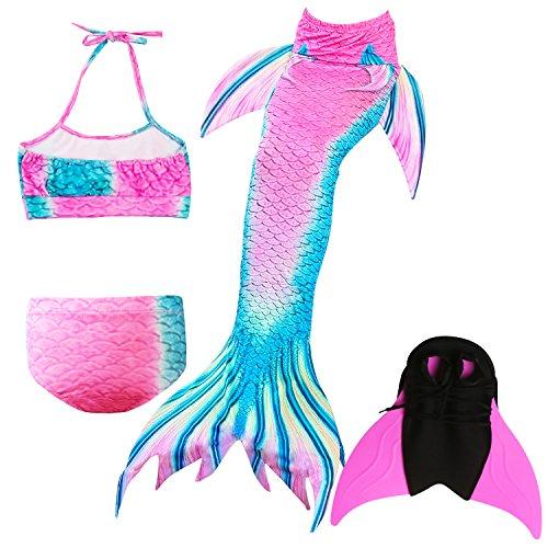 Das beste Mädchen Bikini Badeanzüge Schönere Meerjungfrauenschwanz zum Schwimmen mit Meerjungfrau Flosse Schwimmen Kostüm Schwanzflosse - EIN Mädchentraum (Verrückte Hüte Für Kinder)