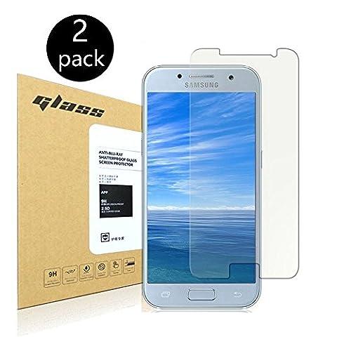 [2-Pack]Samsung Galaxy A3 2017 Protecteur d'écran,HoPerain[verre trempé] Protection écran,Dureté 9H,Anti Scratch,Anti-empreintes digitales